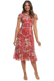 Moss and Spy - Annika High Neck Dress - Red - Front