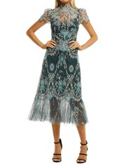 Moss-and-Spy-Cynthia-High-Neck-Dress-Blue-and-Green-Front