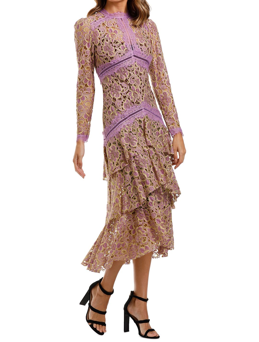 Moss and Spy Amber Tiered Dress lace long sleeve
