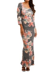 Moss and Spy	Matisse Gown Floral Multi Sequins Dress