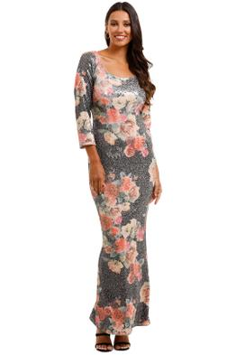 Moss and SpyMatisse Gown Floral Multi Sequins Dress