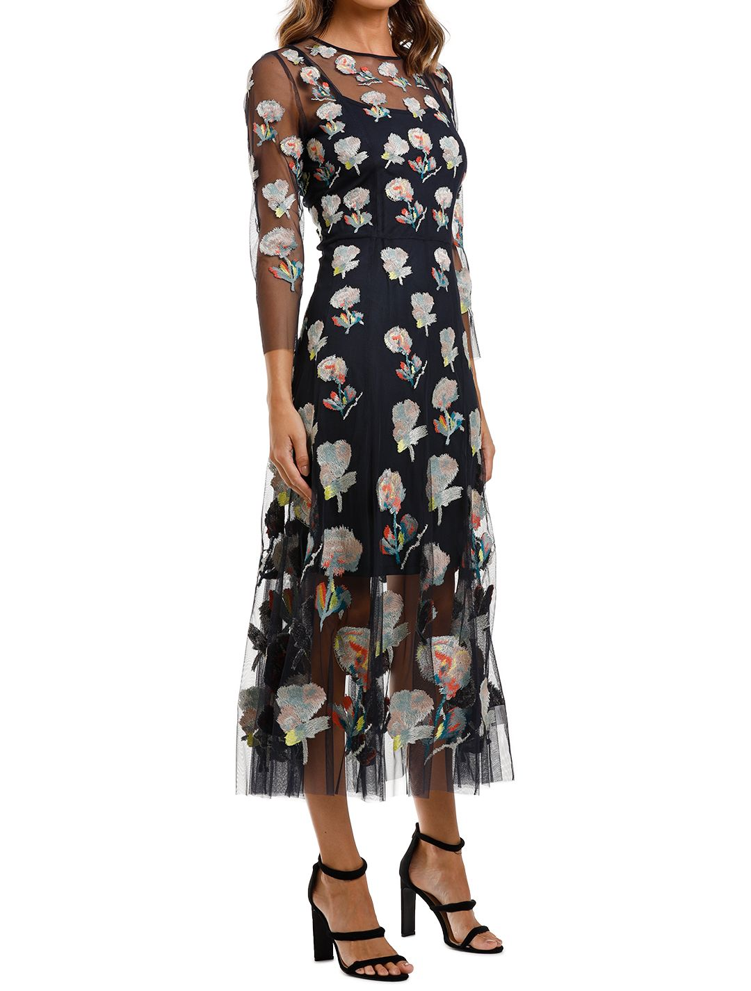 Moss and Spy Monet Dress Ink Multi Florals sleeve