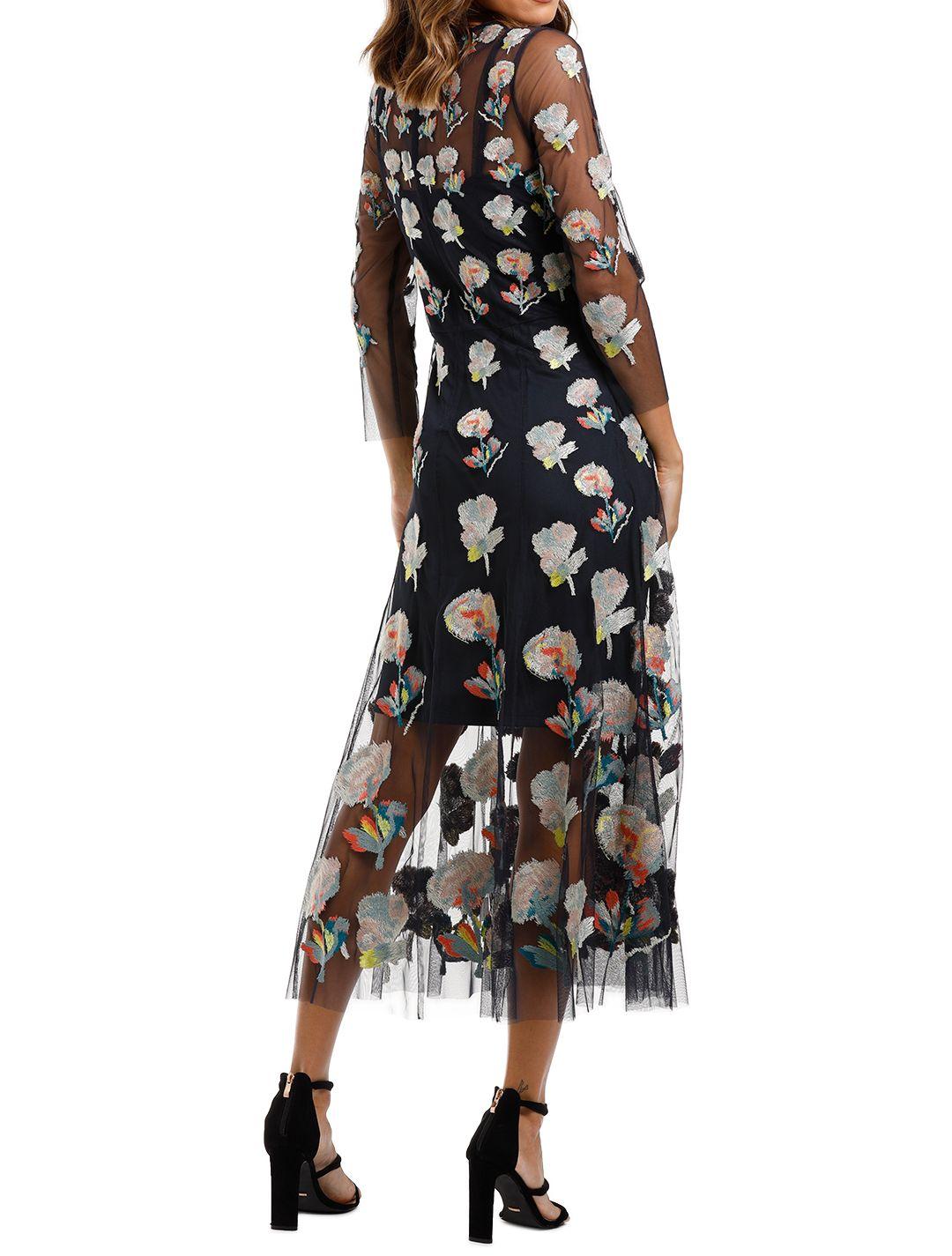 Moss and Spy Monet Dress Navy Multi Florals midi sheer