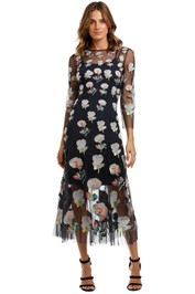 Moss and Spy Monet Dress Ink Multi Florals embroidered