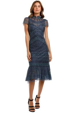 Moss and Spy Riviera High Neck Dress Navy Tulle