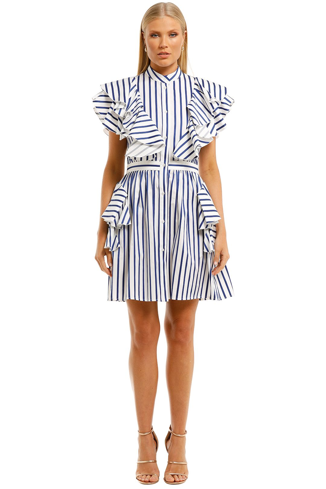 MSGM-Striped-Ruffle-Detail-Dress-Blue-Front