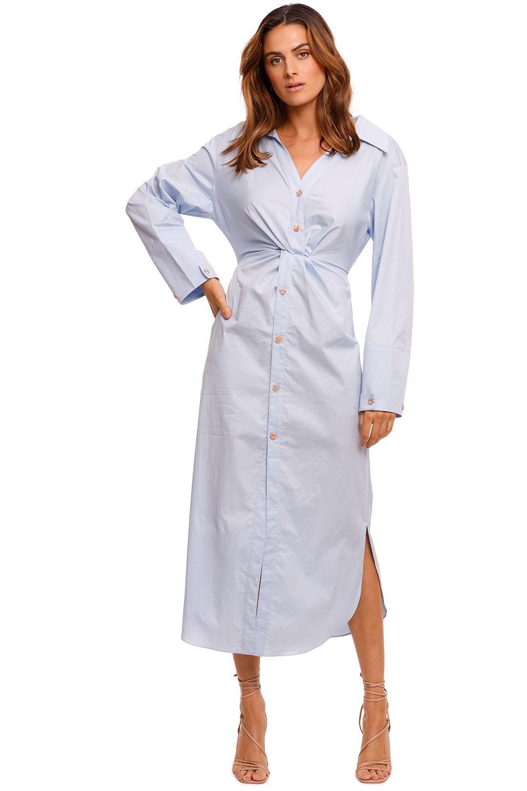 Nanushka Ayse Twisted Shirt Dress blue