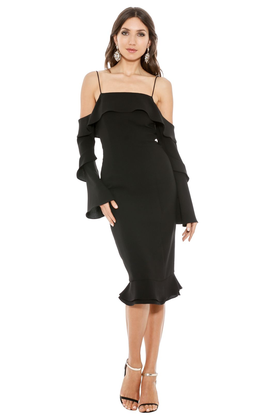 Nicholas - Crepe Spiral Sleeve Dress - Black - Front