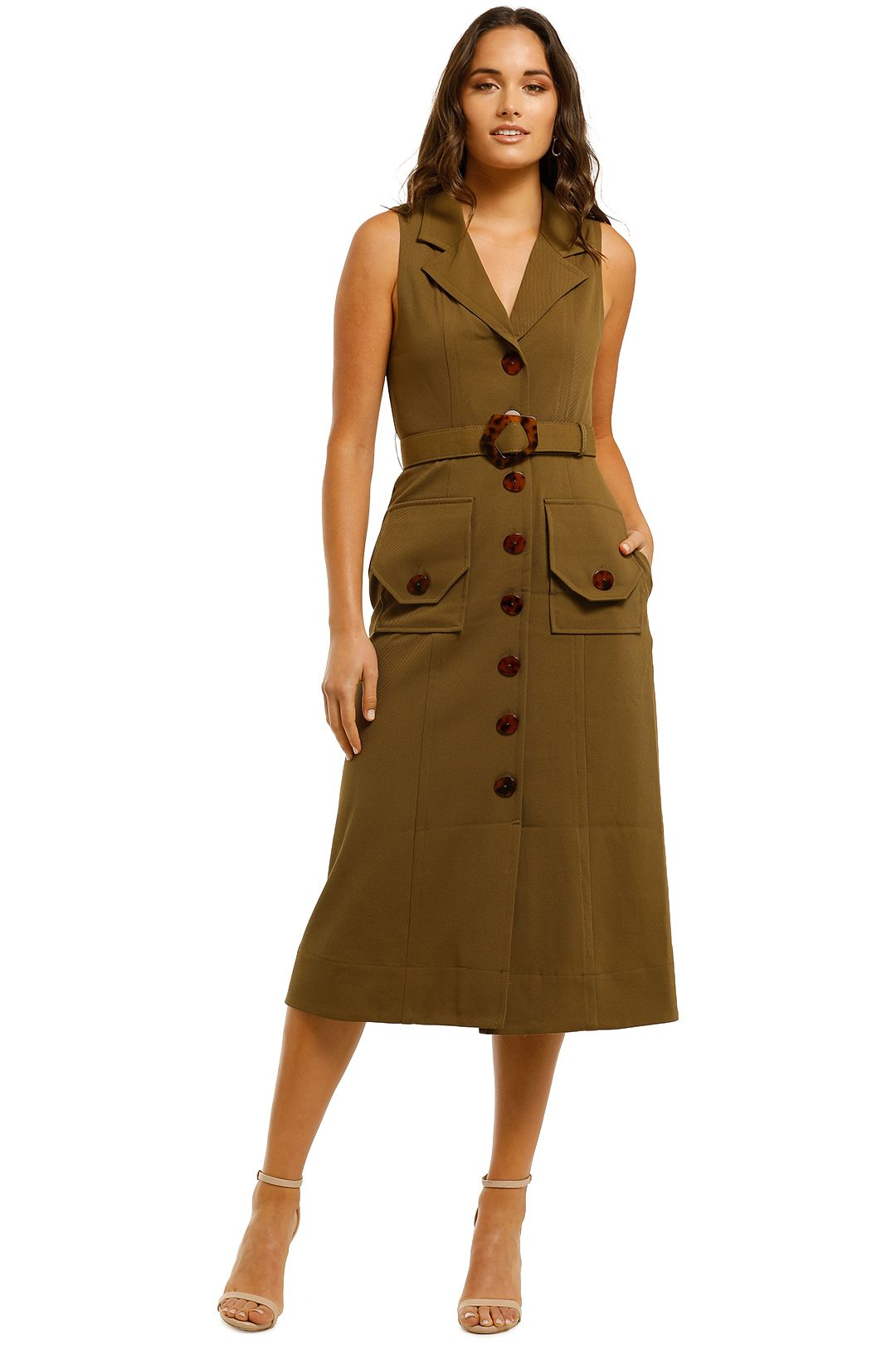 Nicholas-Button-Up-Midi-Dress-Olive-Front