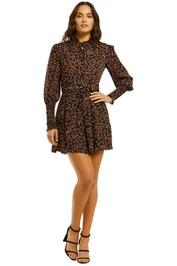 Nicholas-High-Neck-Ruffle-Mini-Dress-Persimmon-Multi-Front