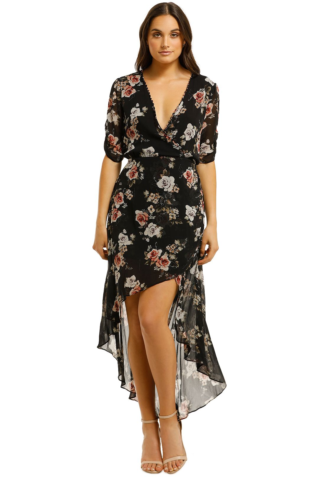 Nicholas-The-Label-Black-Rose-Wrap-Drape-Dress-Black-Front