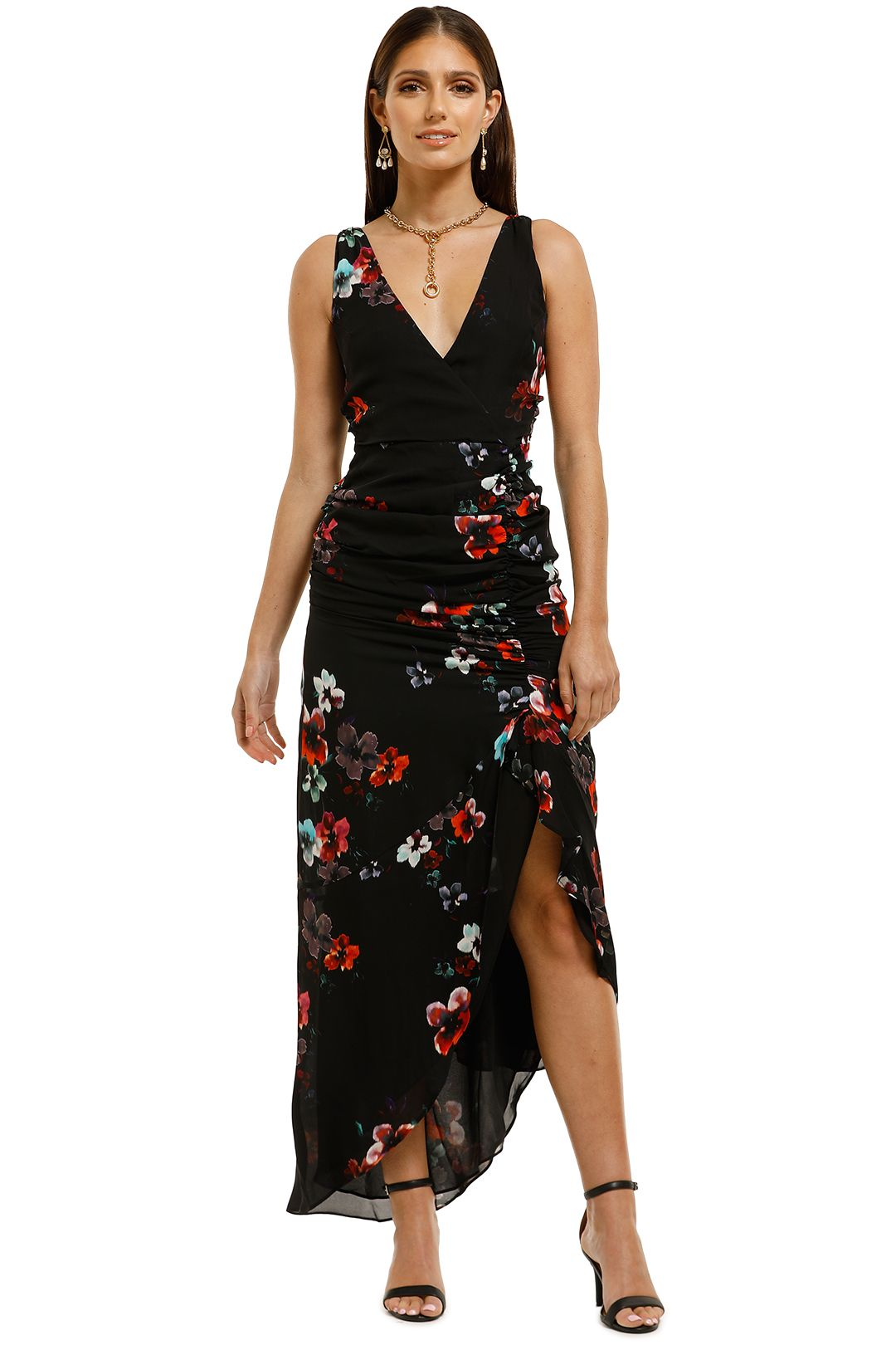 Nicholas-The-Label-Drape-Front-Dress-Garnet-Multi-Front
