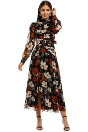 Nicholas-The-Label-Gathered-Front-Tuck-Dress-Garnet-Multi-Front