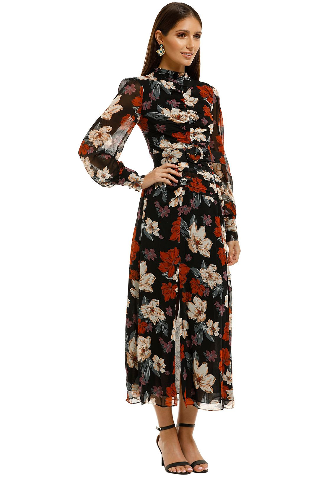 Nicholas-The-Label-Gathered-Front-Tuck-Dress-Garnet-Multi-Side
