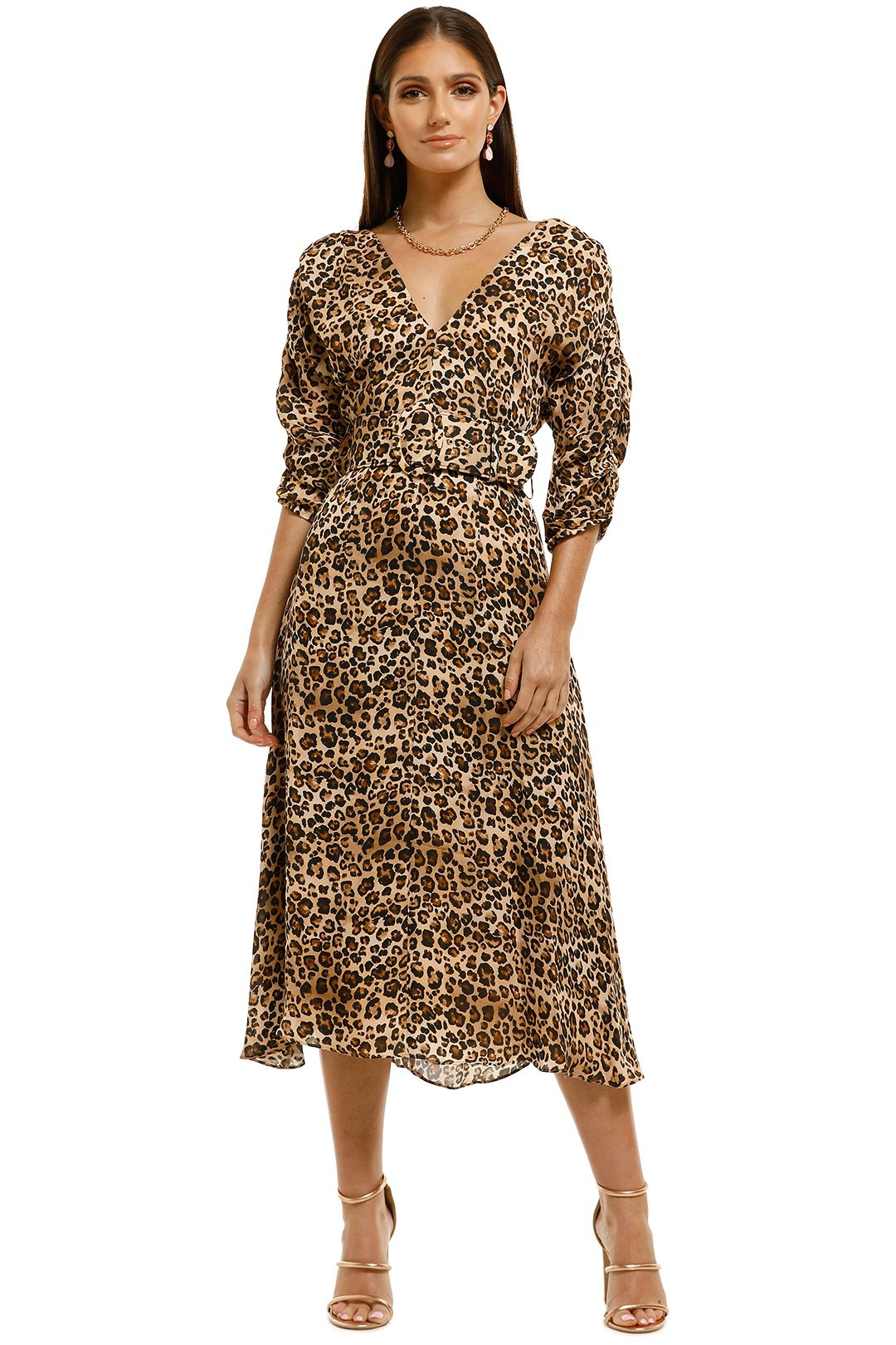 Nicholas-The-Label-Gathered-Sleeve-Dress-Leopard-Front