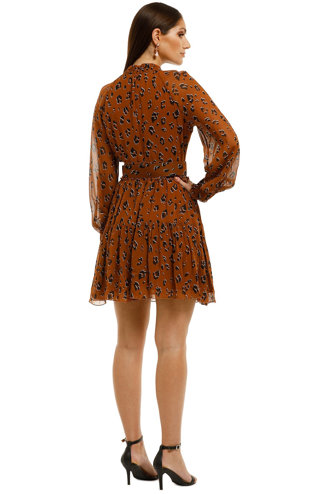 Nicholas-The-Label-High-Neck-Button-Mini-Dress-Tobacco-Multi-Back