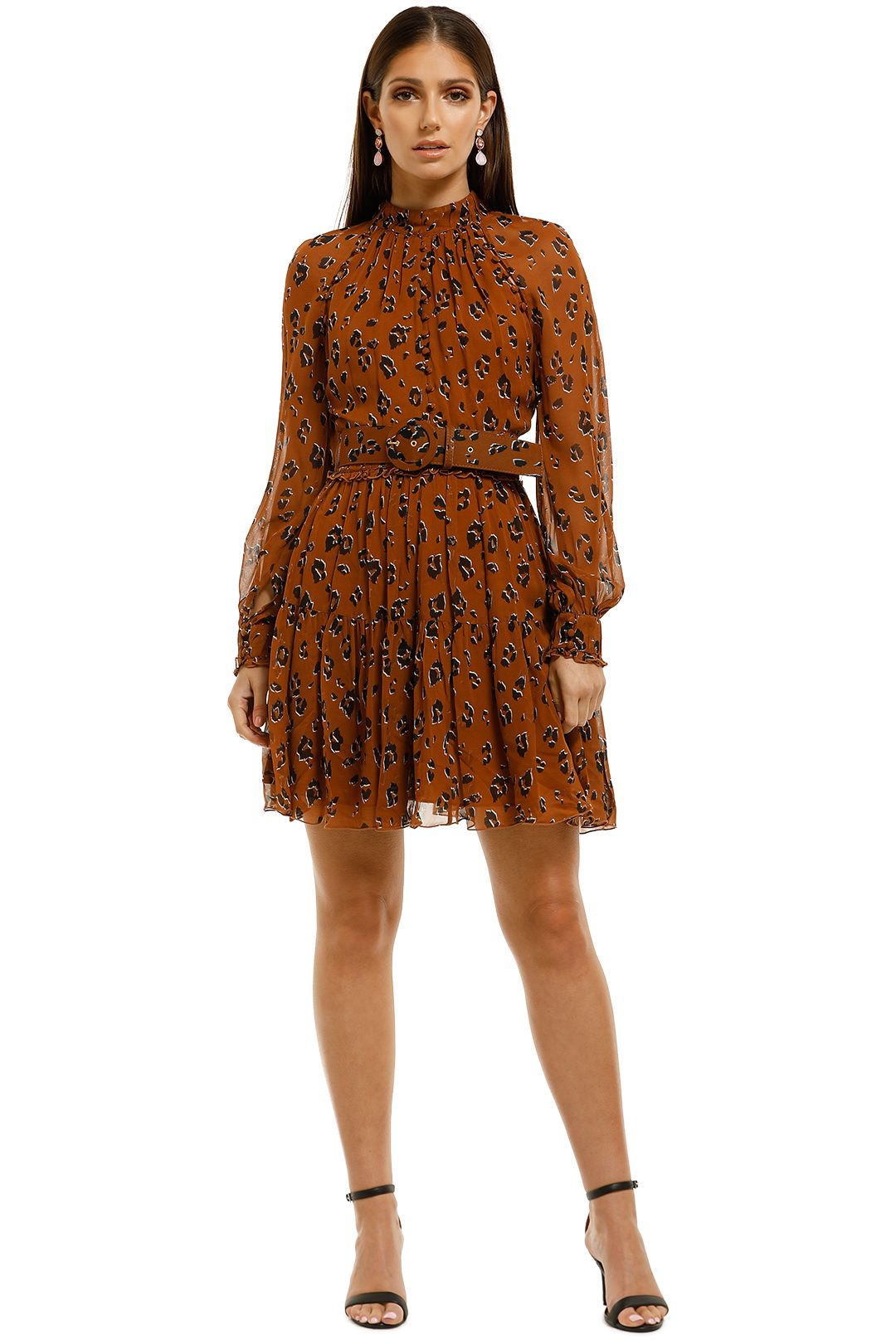 Nicholas-The-Label-High-Neck-Button-Mini-Dress-Tobacco-Multi-Front