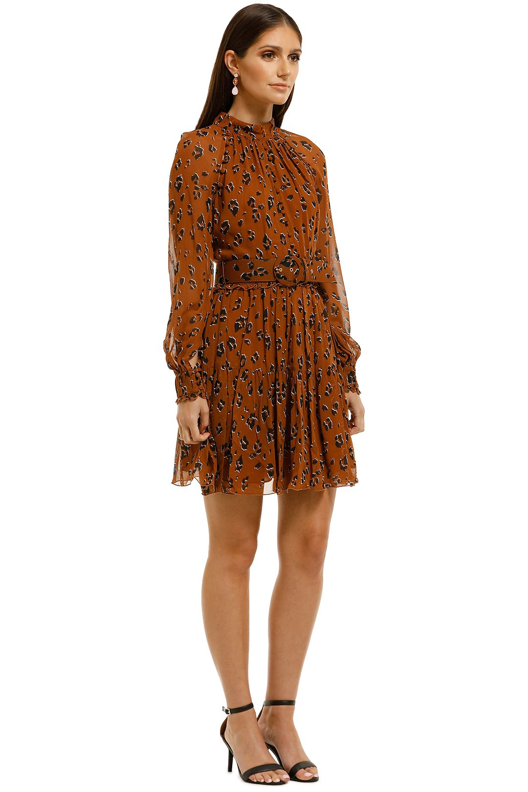 Nicholas-The-Label-High-Neck-Button-Mini-Dress-Tobacco-Multi-Side