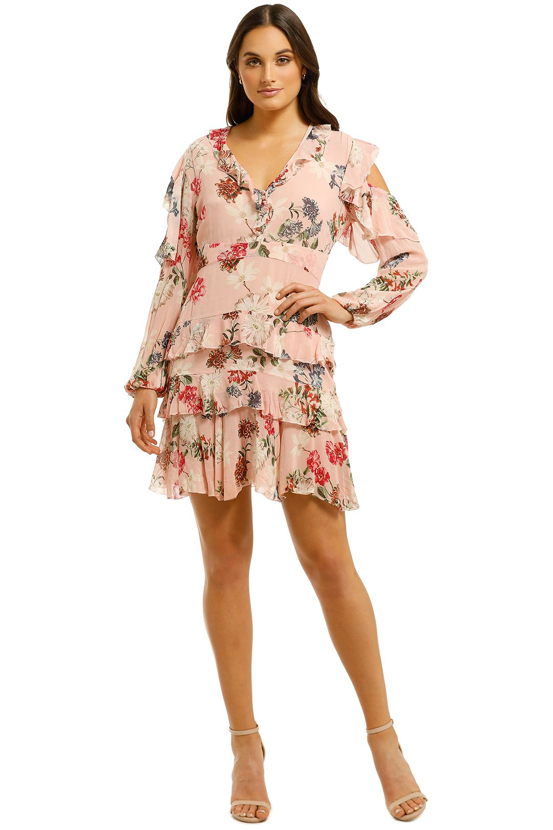 Nicholas-The-Label-Lilac-Floral-Frill-Mini-Dress-Print-Front