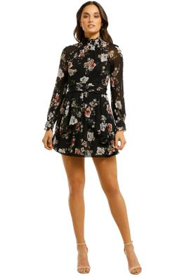 Nicholas-The-Label-Rose-High-Neck-Mini-Dress-Black-Front