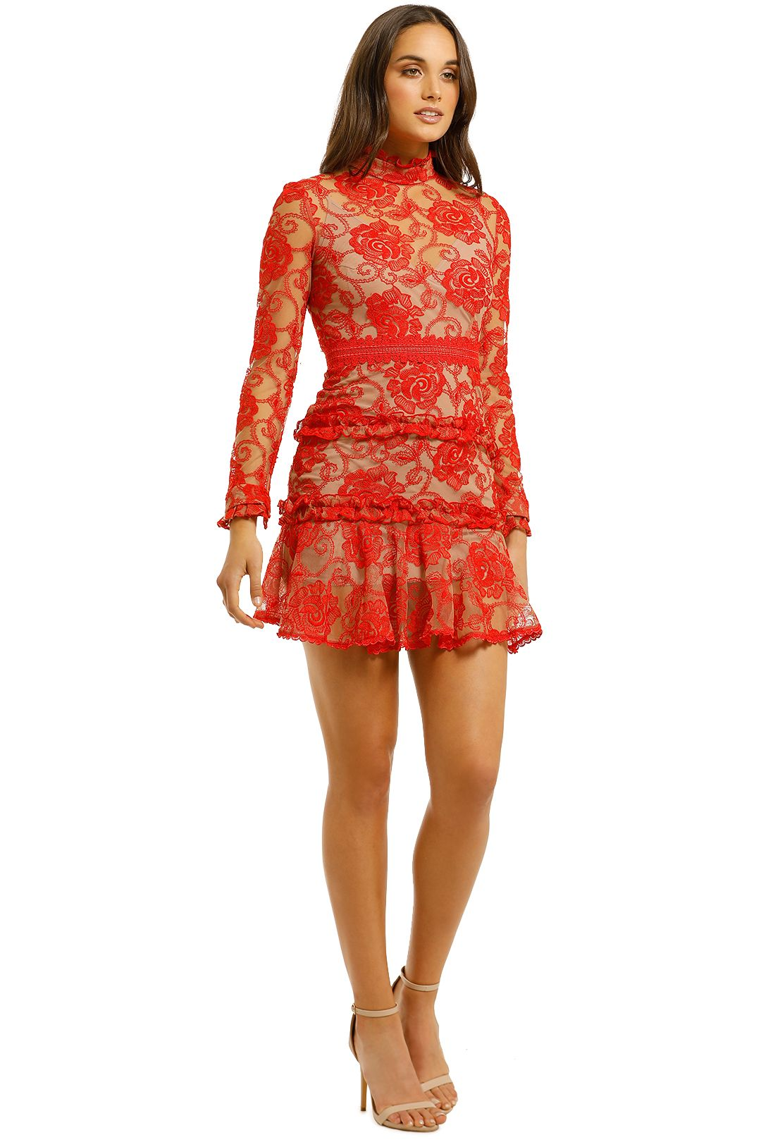 Nicholas-The-Label-Rosie-Lace-High-Neck-Red-Side