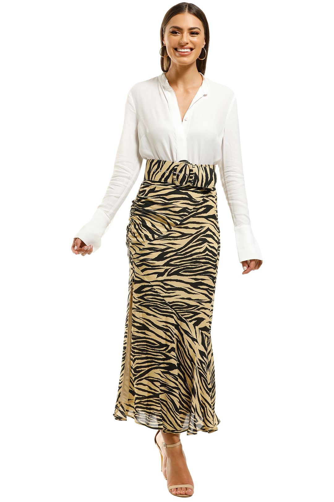 Nicholas-The-Label-Side-Gathered-Skirt-Zebra-Front
