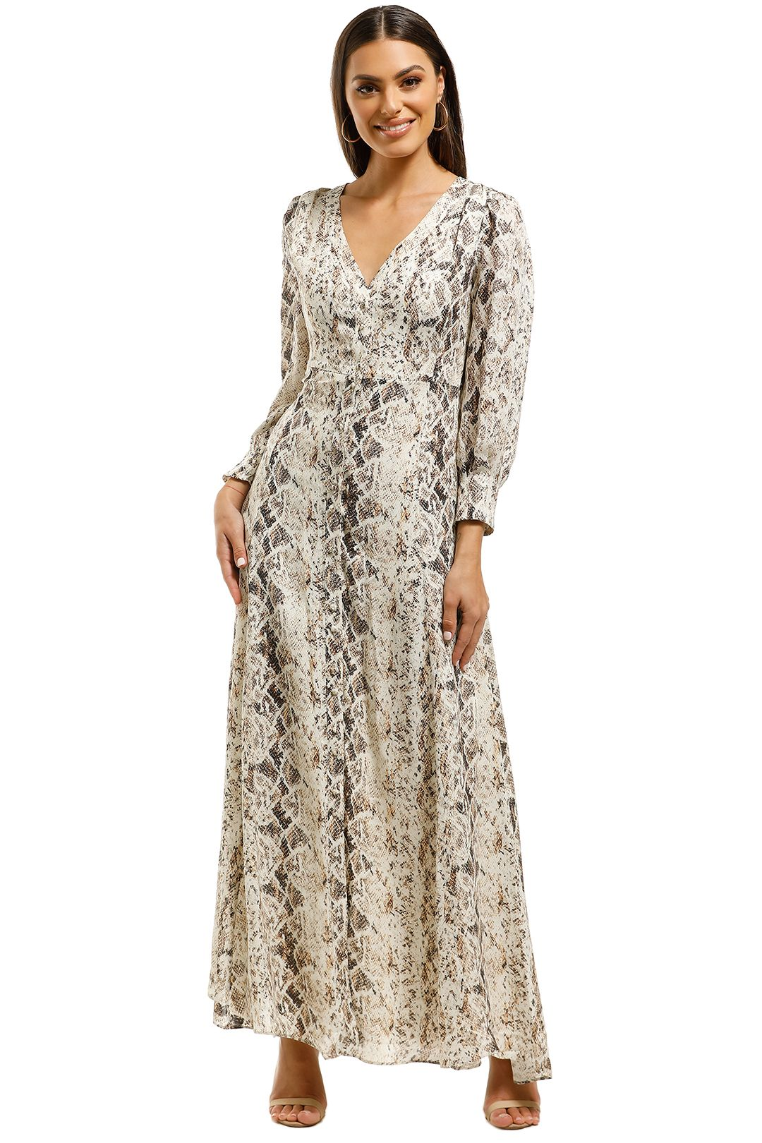 Nicholas-The-Label-Tie-Front-Maxi-Shirtdress-Brown-Multi-Front