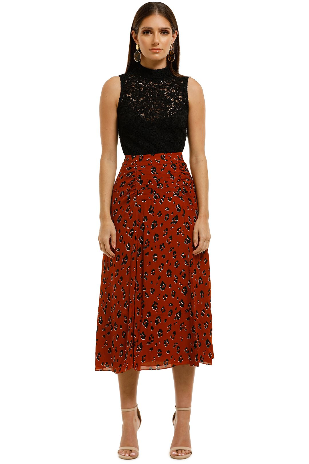 Nicholas-The-Label-Tuck-Skirt-Rust-Leopard-Front