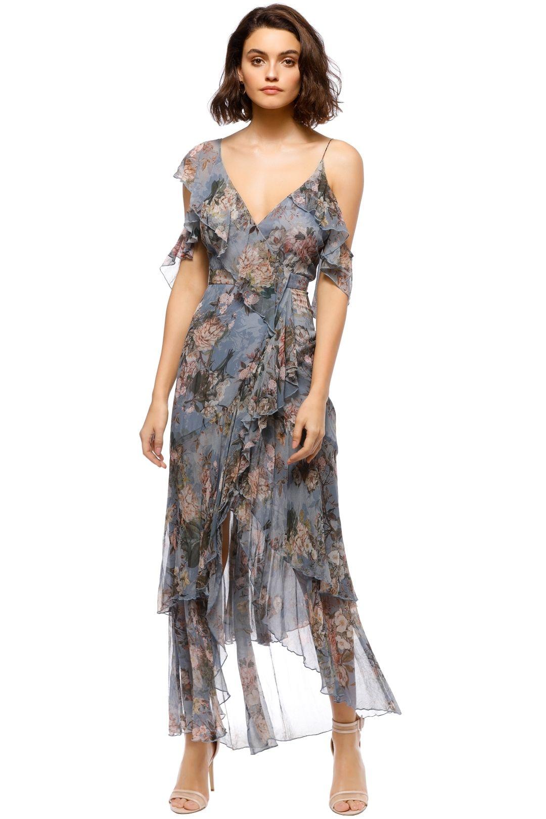 Nicholas - Arielle Floral Wrap Maxi - Blue Floral  - Front