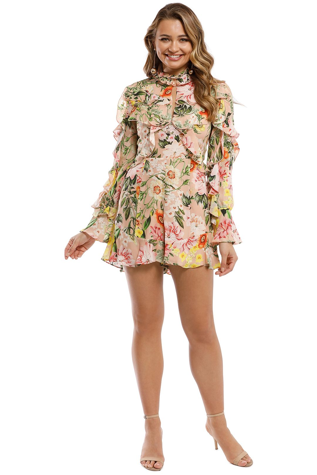 Nicholas - Aveline Ruffle Layer Playsuit - Pink Multi - Front