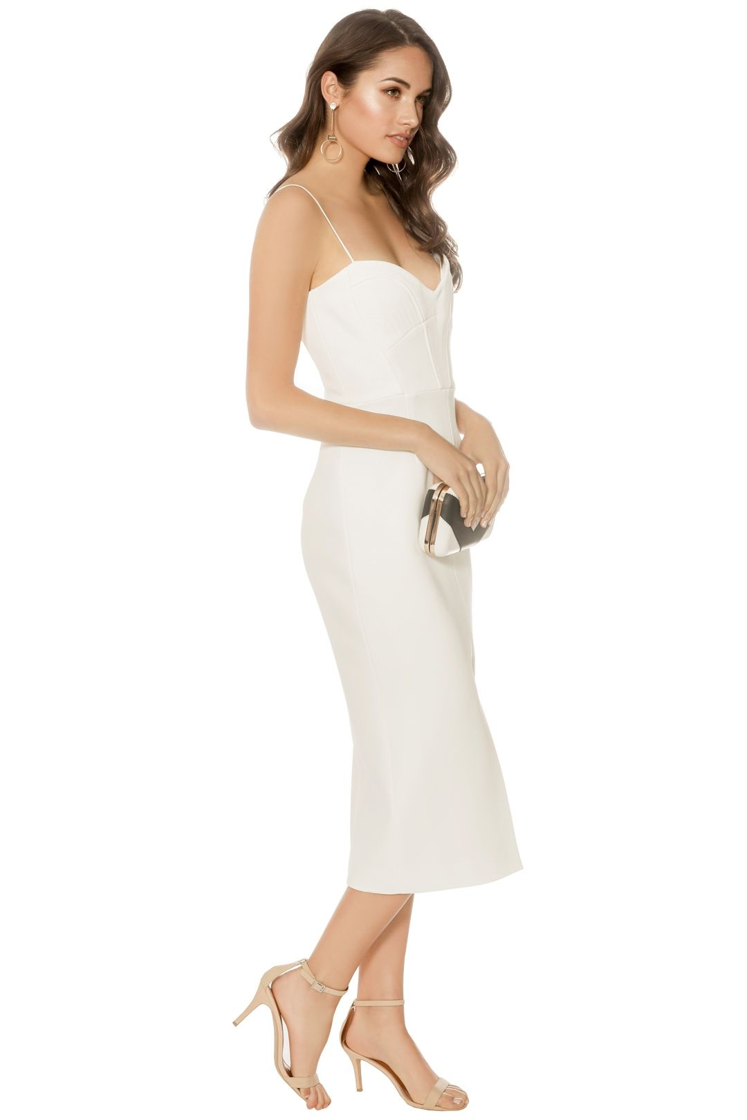 Nicholas - Bandage Quilted Midi Dress - Ivory - Side