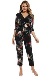 Nicholas - Cecile Floral Jumpsuit - Black Multi - Front
