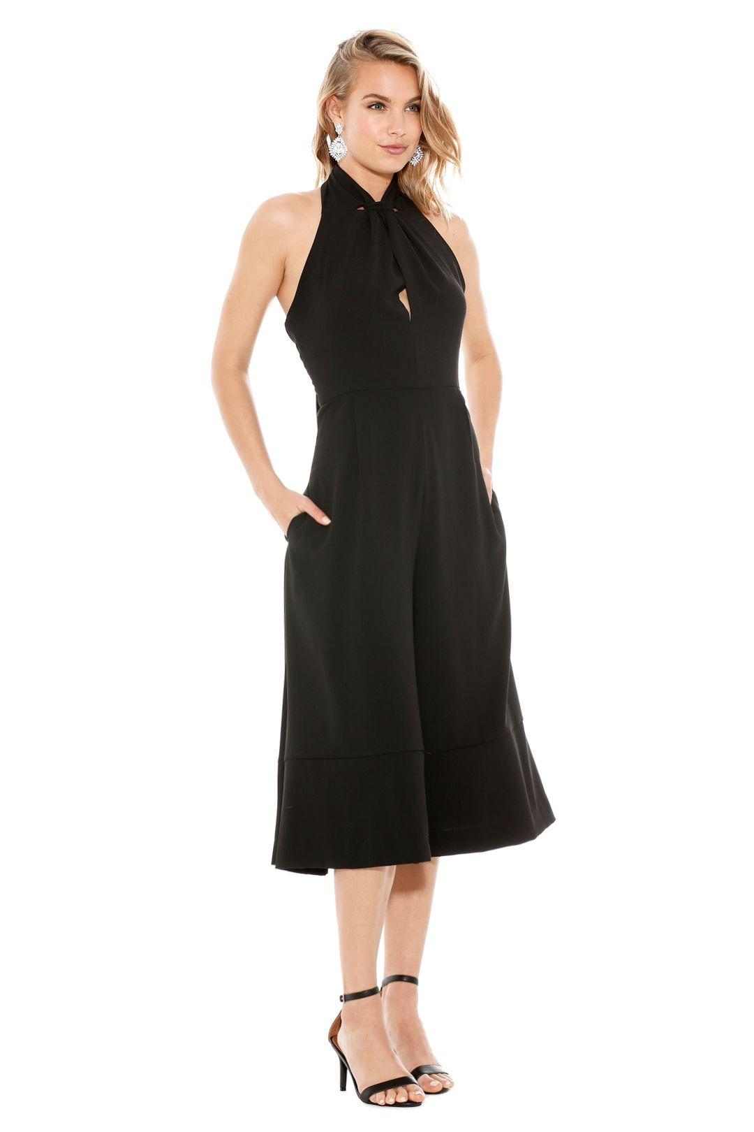 Crepe Halter Split Jumpsuit - Black - Side
