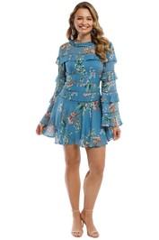 Nicholas - Delphine Ruffle Mini Dress - Blue Multi - Front