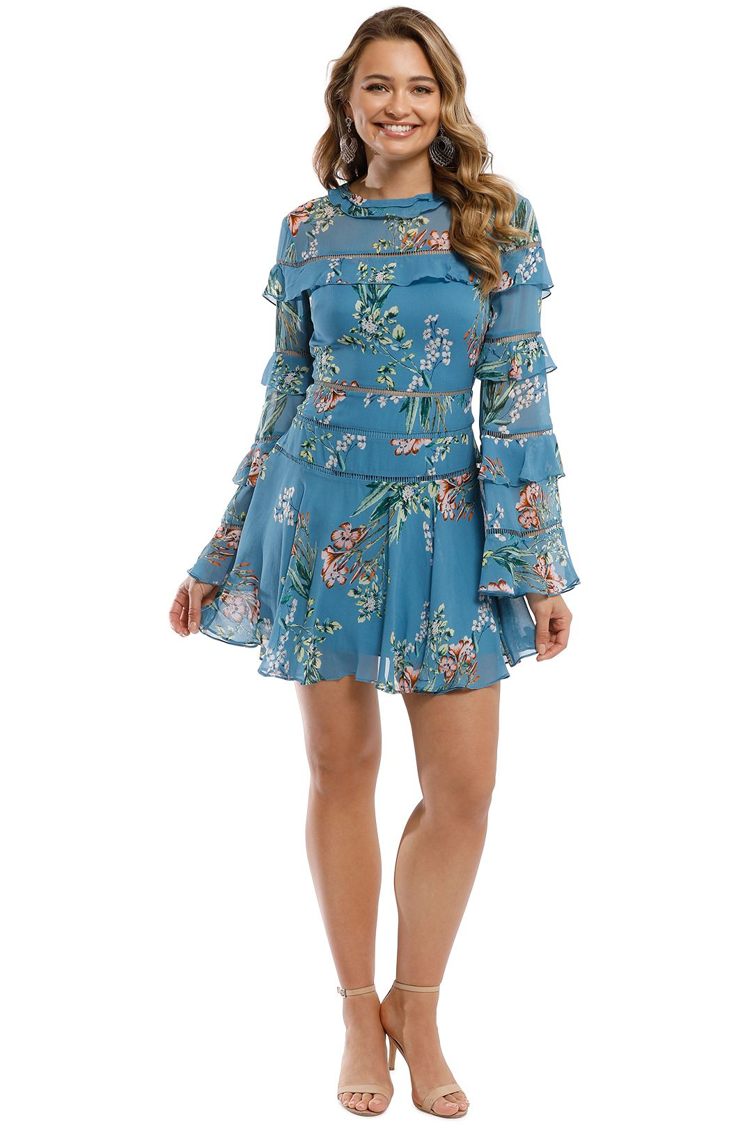 Nicholas - Delphine Ruffle Mini Dress - Blue Multi - Front