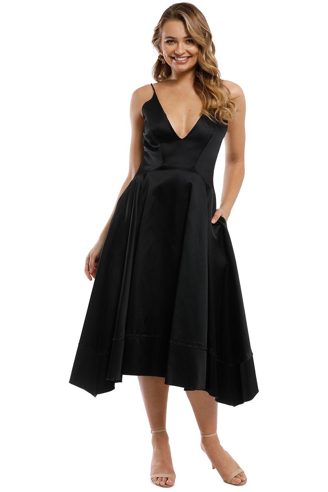 Nicholas - Duchess Satin Ball Dress - Black - Front