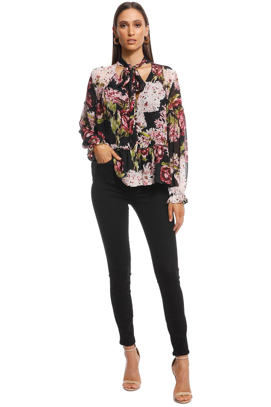 Nicholas - Heather Floral V-Neck Blouse - Black Floral - Front