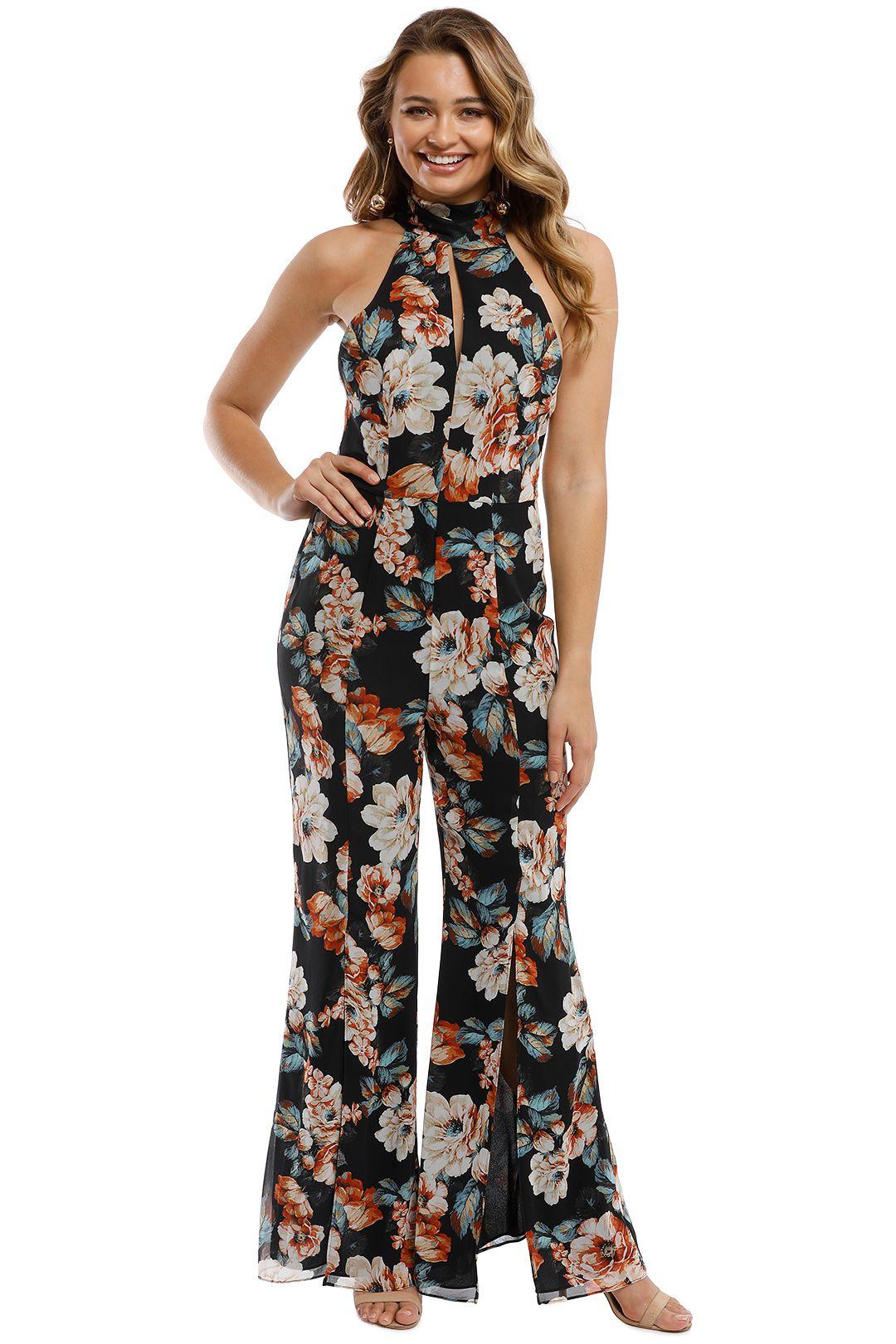Nicholas - Lola Floral Jumpsuit - Black Multi - Front