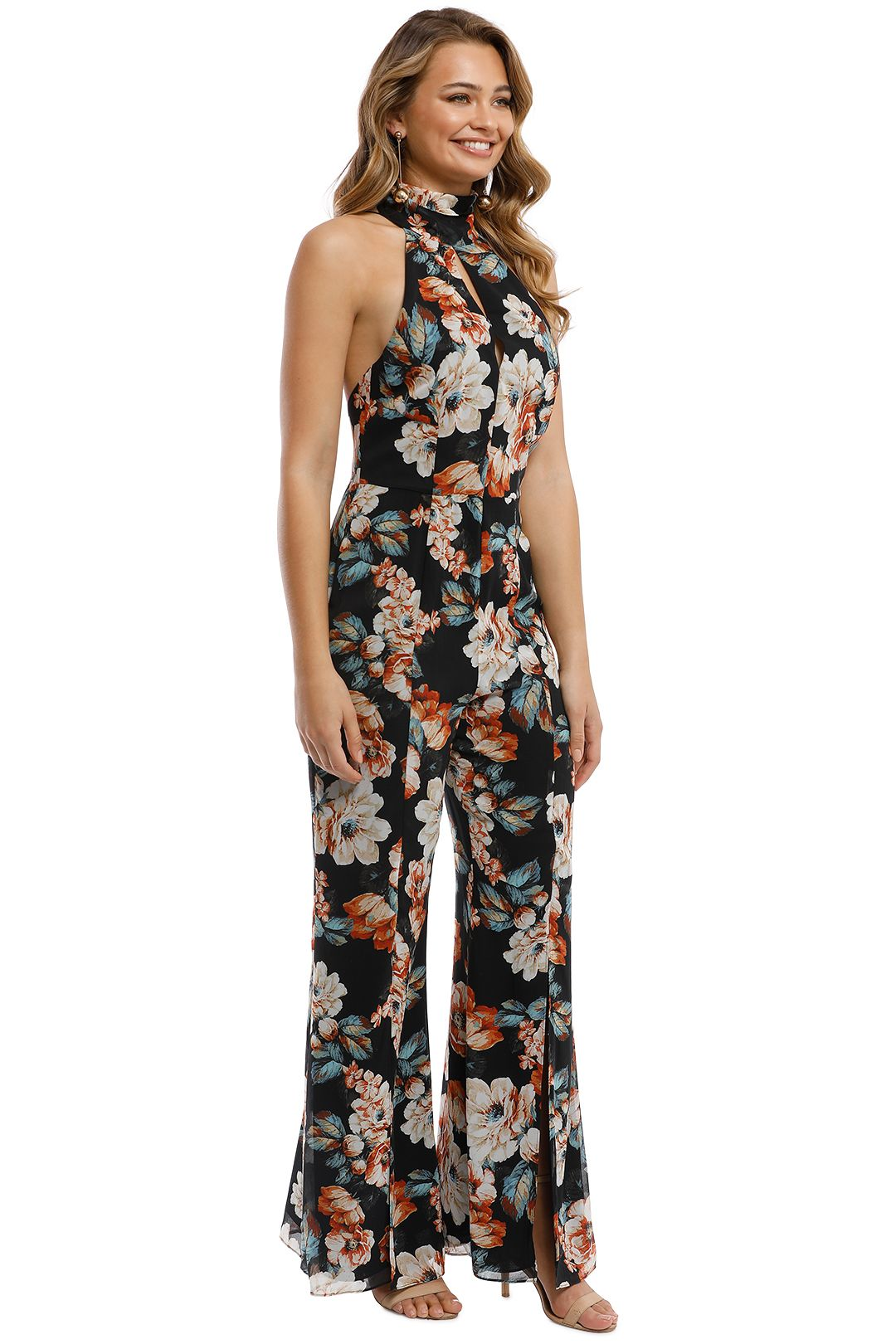 Nicholas - Lola Floral Jumpsuit - Black Multi - Side