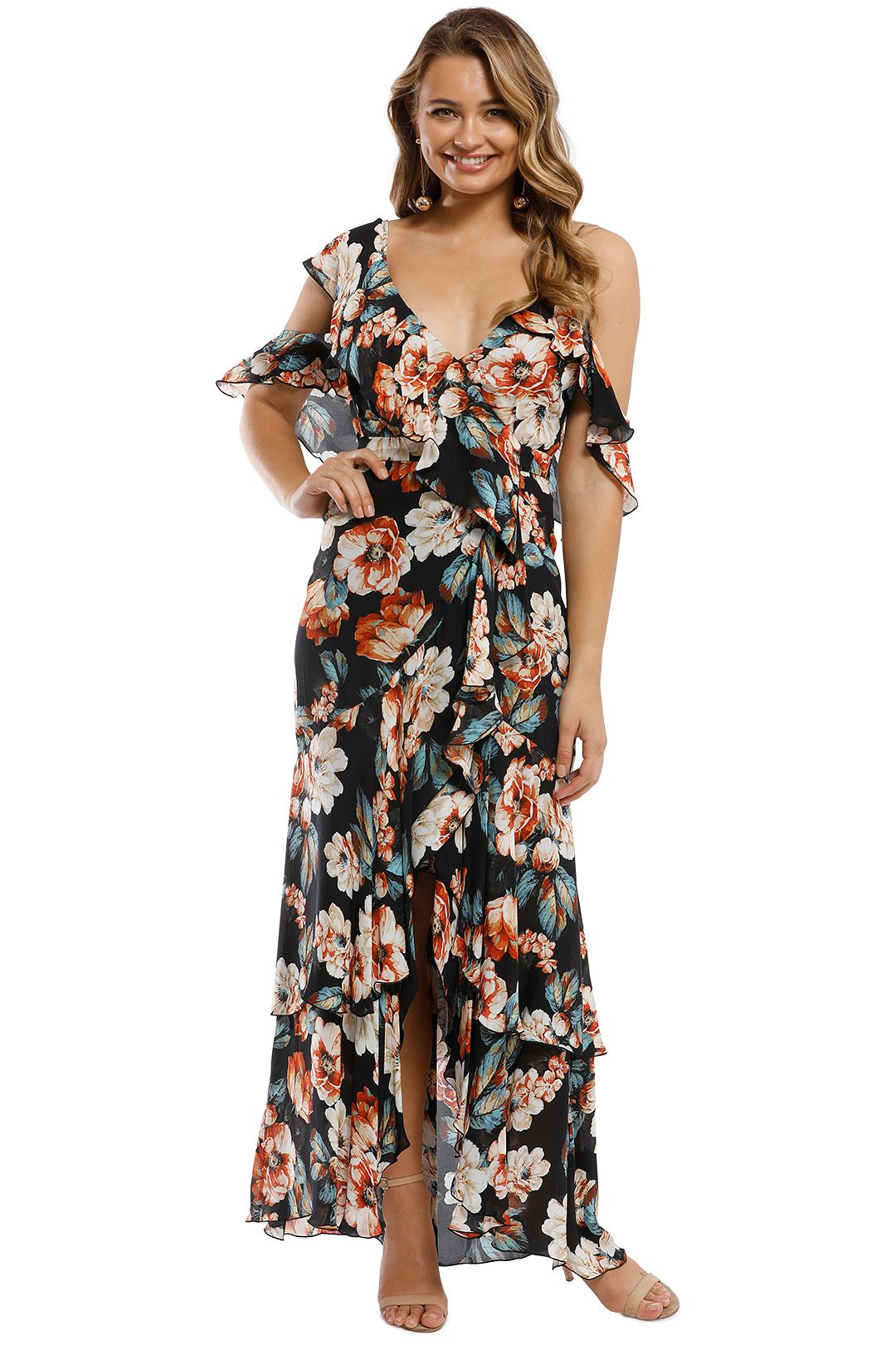 Nicholas - Lola Wrap Flounce Maxi Dress - Multi - Front