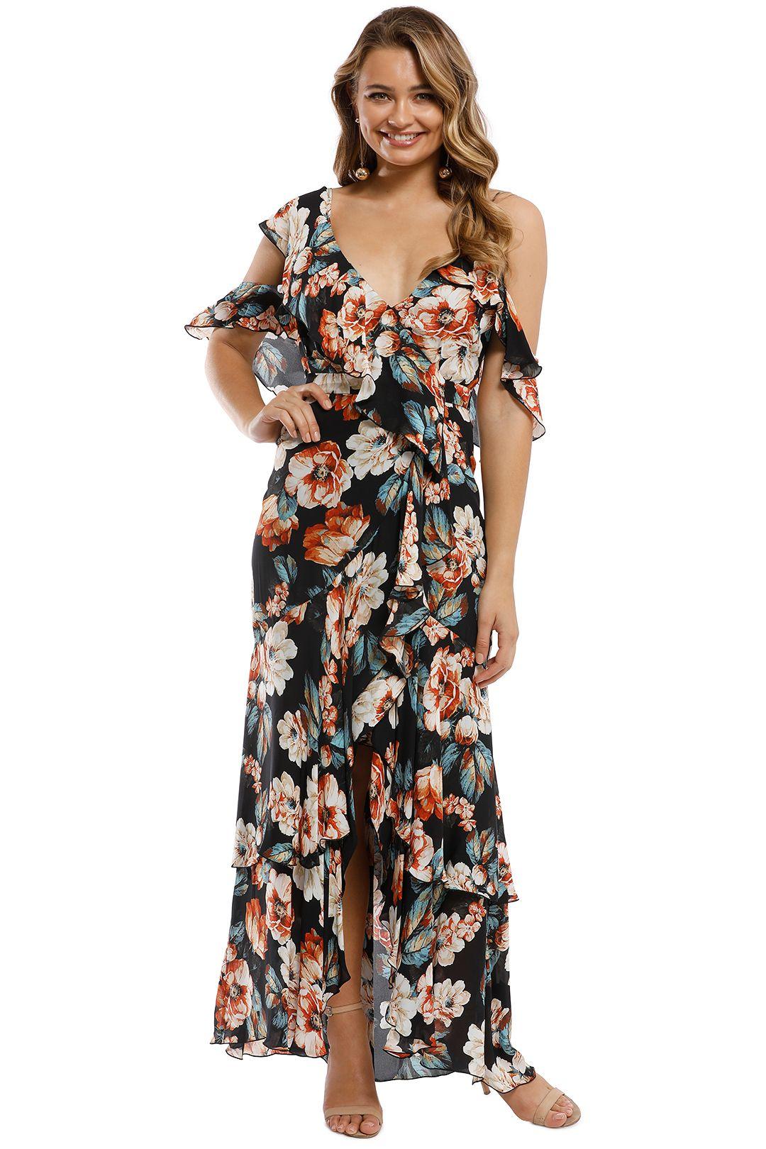 Nicholas - Lola Wrap Flounce Maxi Dress - Multi - Front