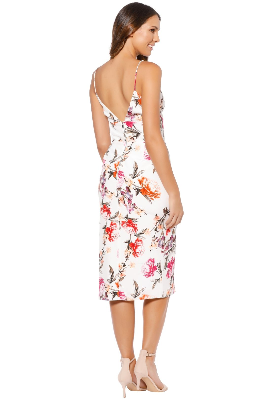 Nicholas - Lucile Floral Corset Bra Dress - Ivory - Back