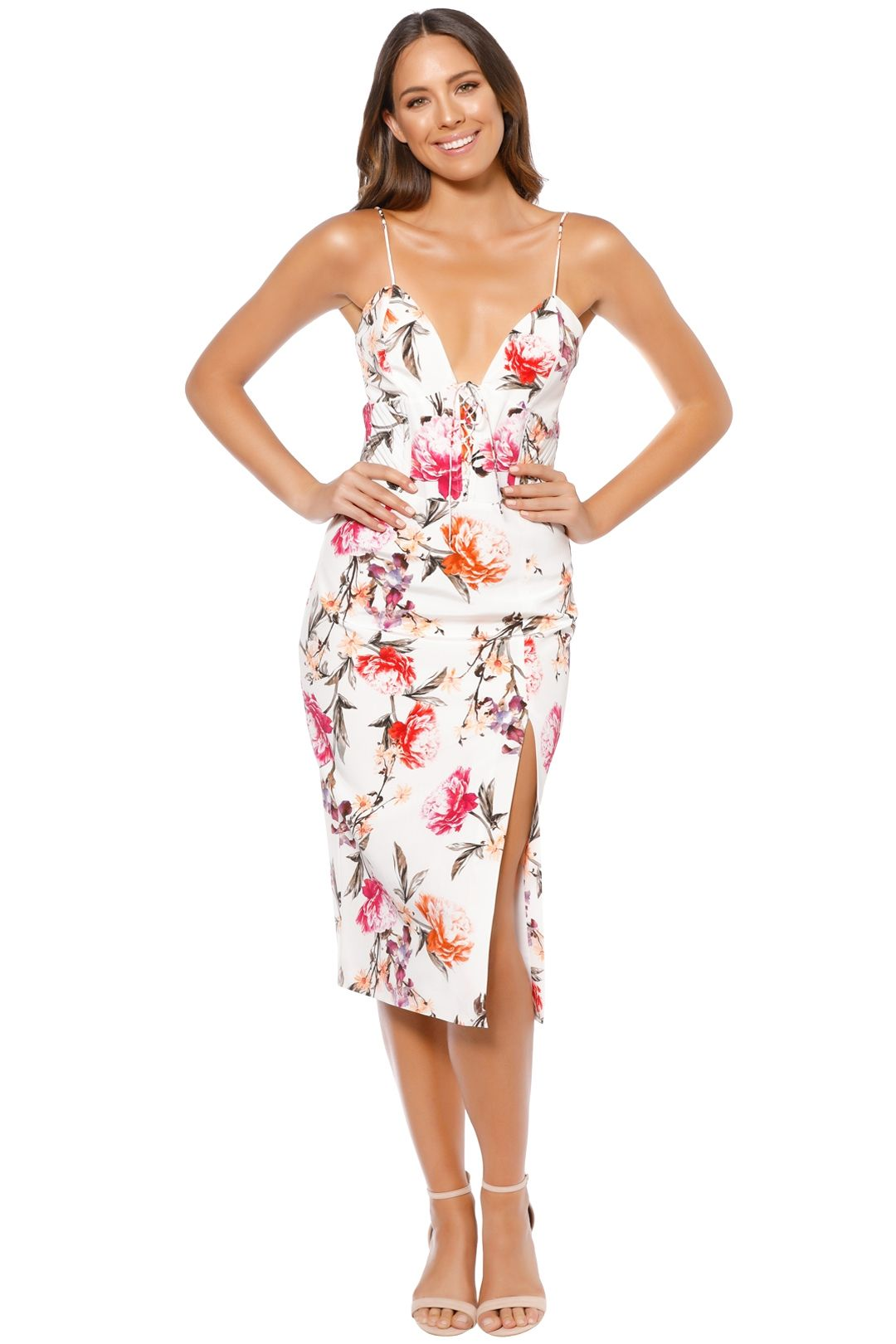 Nicholas - Lucile Floral Corset Bra Dress - Ivory - Front