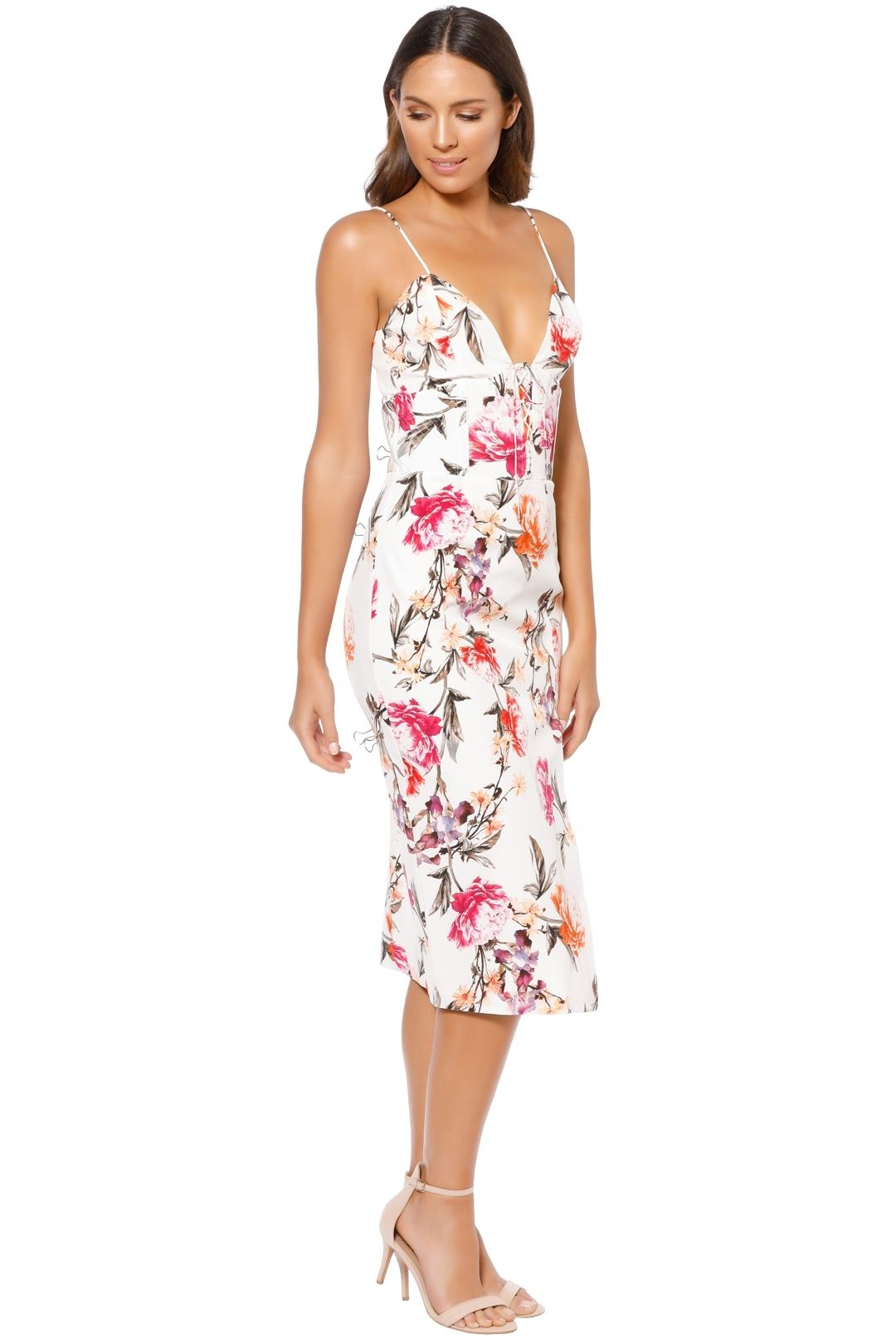 Nicholas - Lucile Floral Corset Bra Dress - Ivory - Side
