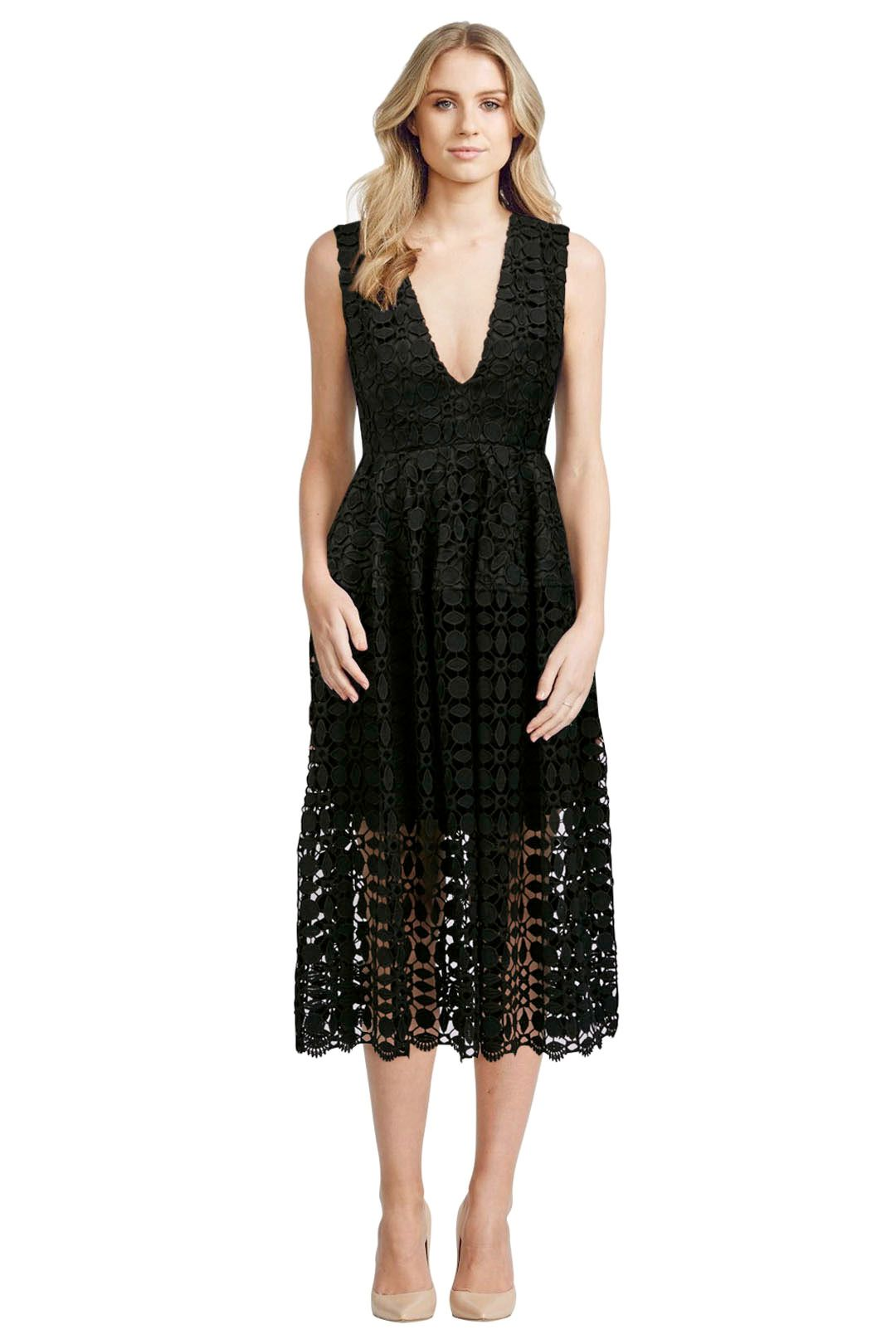 Mosaic Lace Ball Dress - Black - Front
