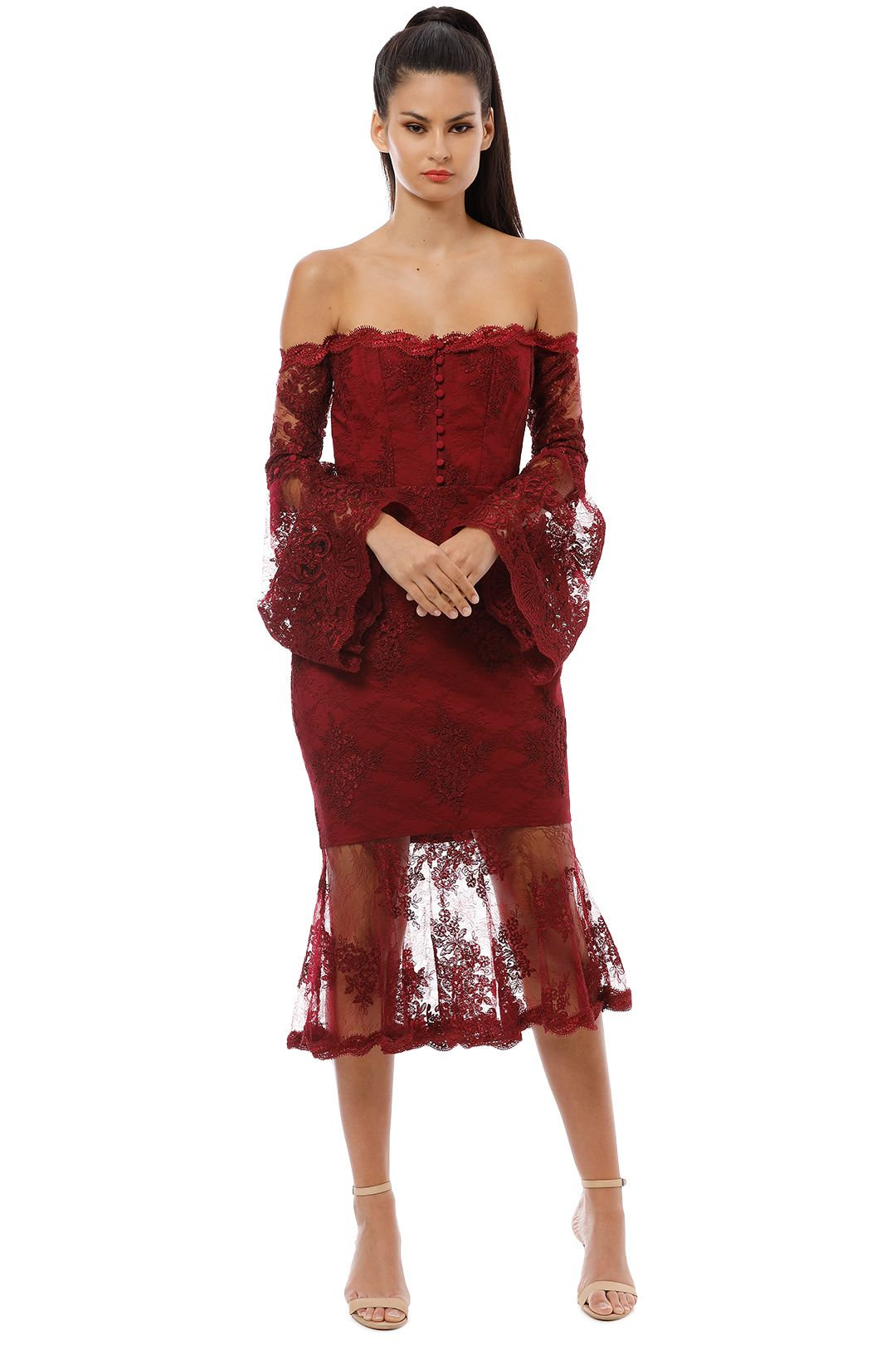 Nicholas - Octavia Lace Corset Midi Dress - Bordeaux - Front