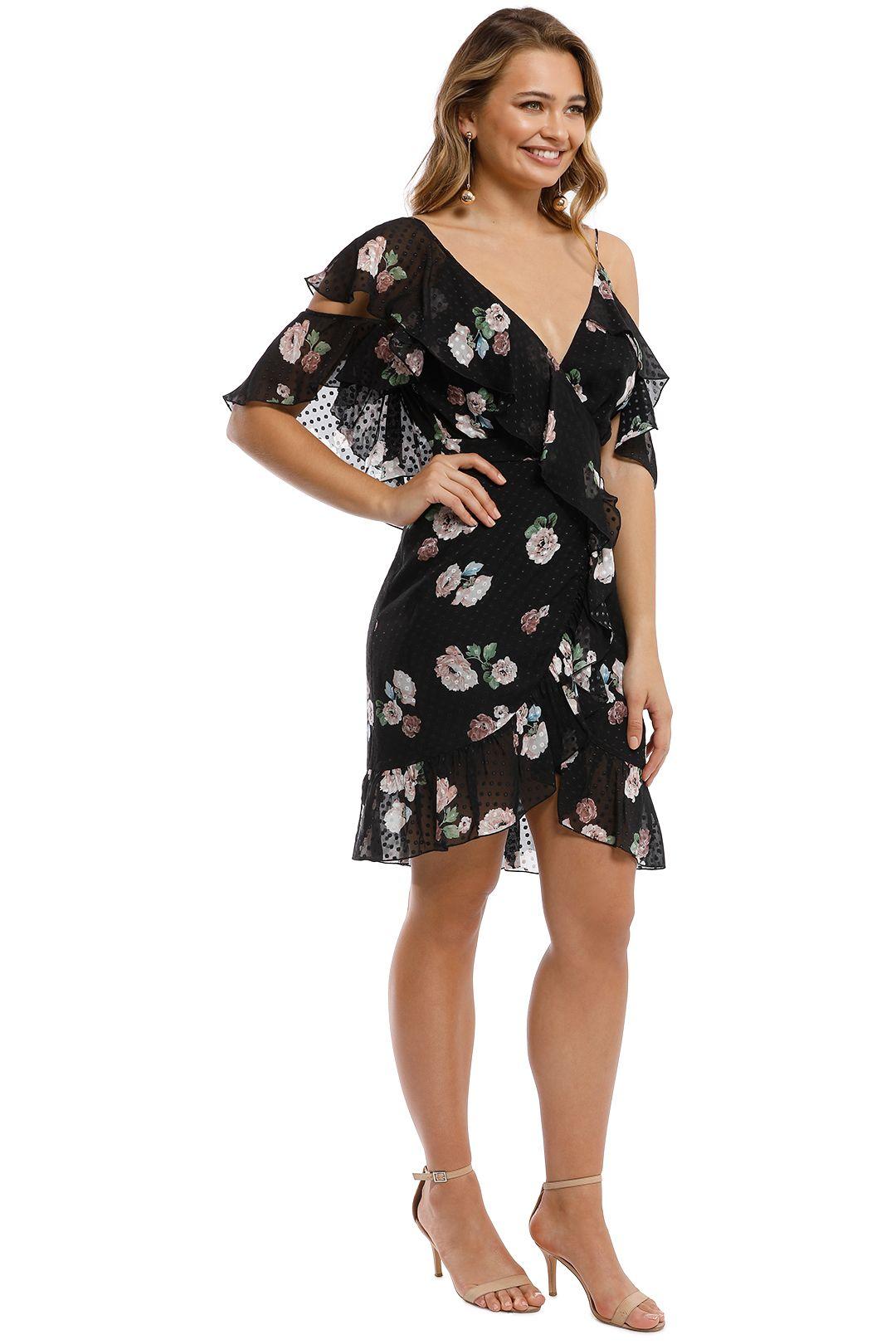 Nicholas - Rose Wrap Mini Dress - Black - Side