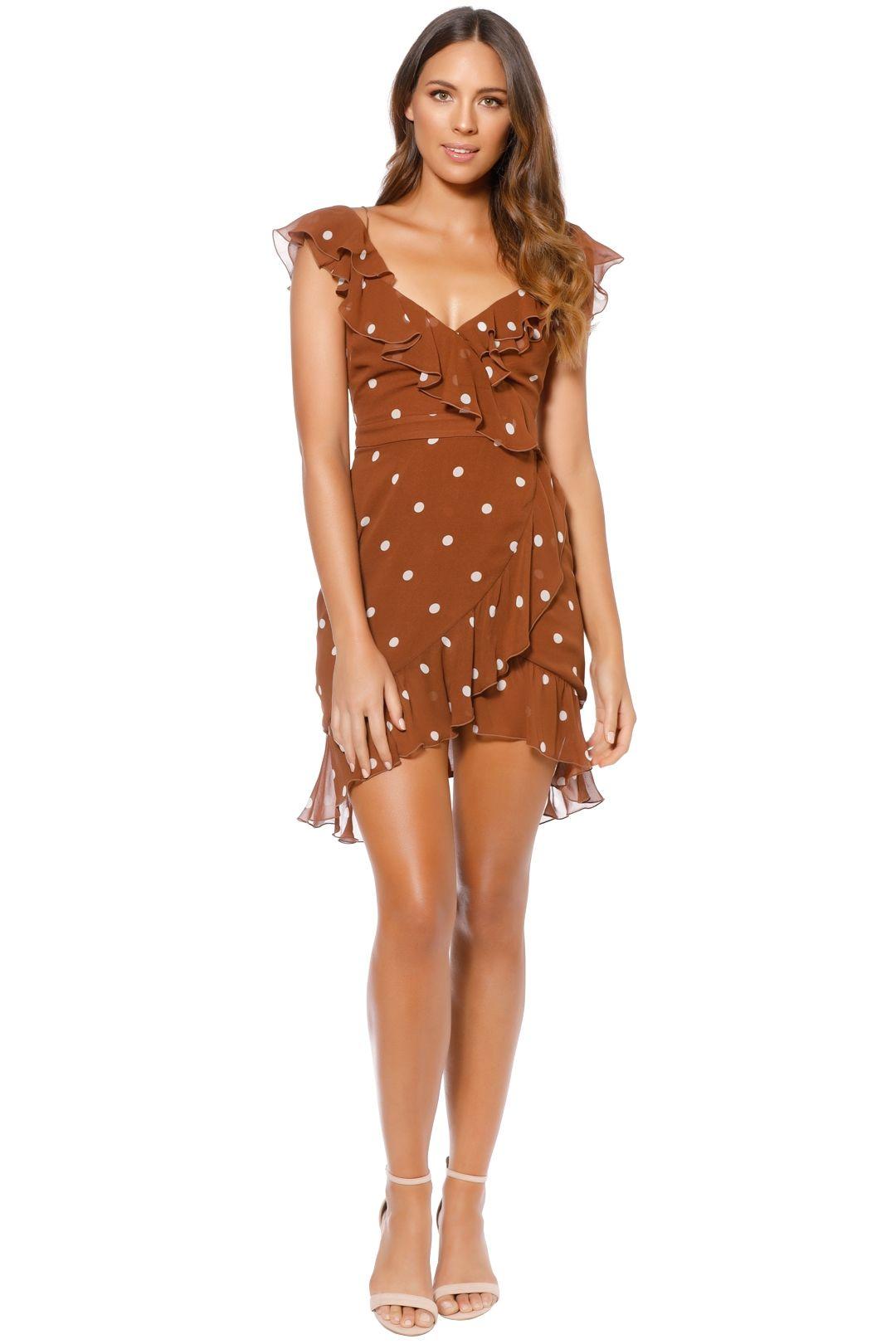Nicholas - Rust Spot Wrap Frill Mini Dress - Brown - Front