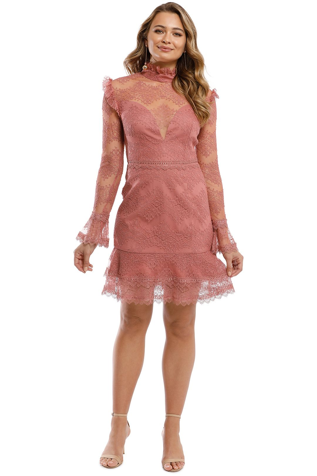Nicholas - Thalia Lace Ruffle Mini Dress - Dusty Rose - Front
