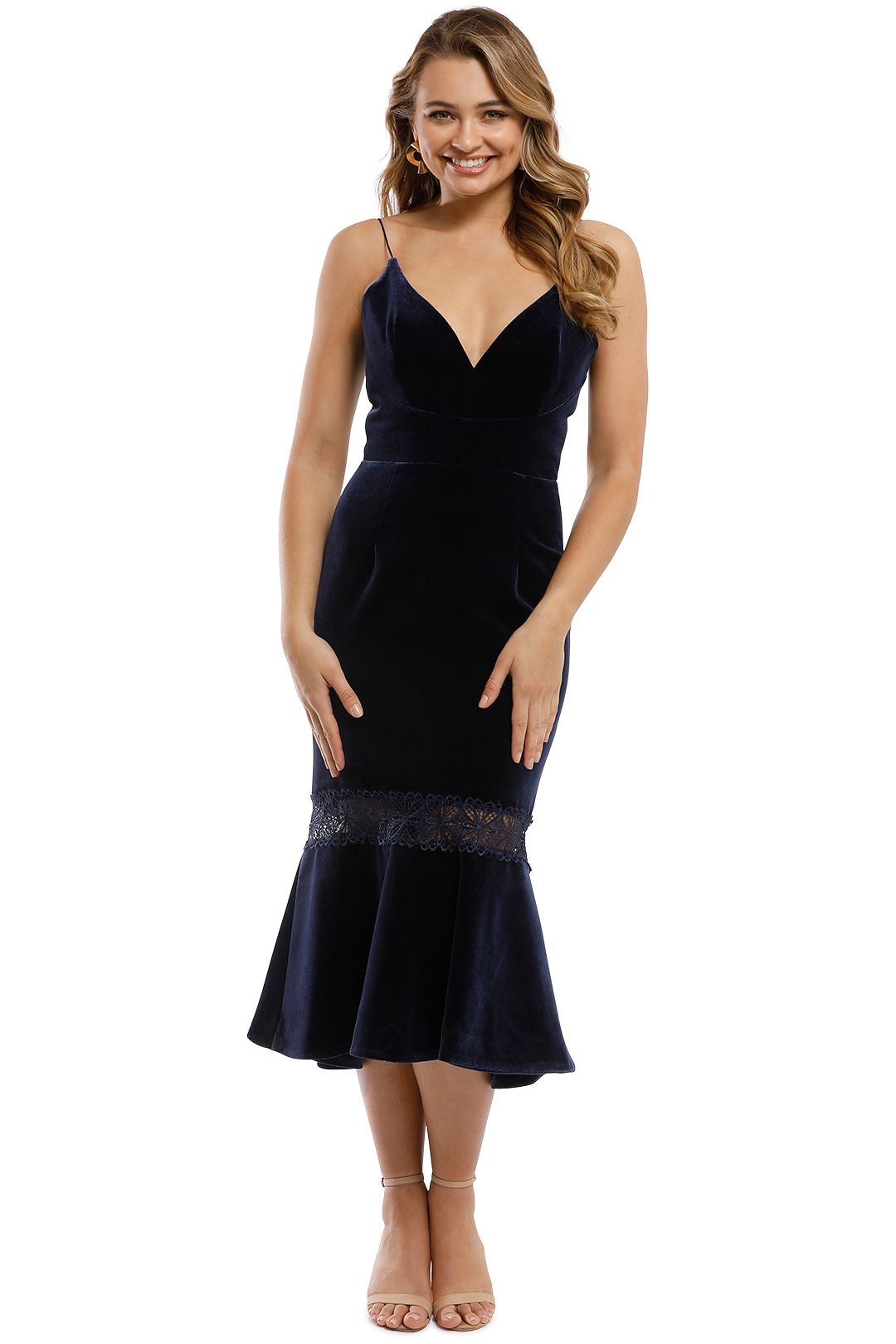 Nicholas - Velvet Bra Dress - Navy - Front